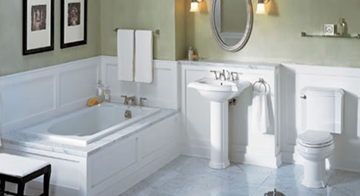 large white bathroom with standalone tub